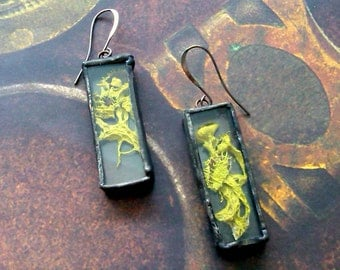 Lichen Jewelry Bright Yellow Lichen Earrings Soldered Jewelry Woodland Soldered Earrings Nature Inspired Earrings Shadowbox Jewelry