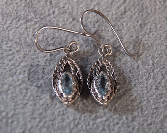 vintage sterling silver dangle drop earrings with rope scroll setting and marquise shaped faceted blue topaz stones            M