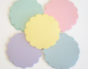 50 Pastel/Spring Scallop Circles, Punches-for Baby Showers, Wedding Tags, Gift  Tags, Price Tags,Thank You's