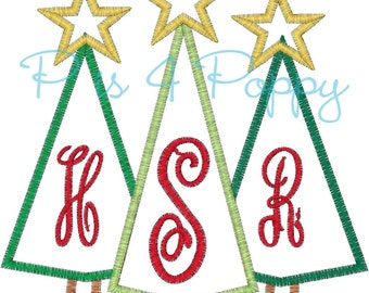 Christmas tree applique design instant download