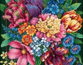 Needlepoint Dimensions Kit FLORAL Splendor Bouquet Flowers 14x14 NEW -Free US Shipping!!!