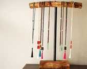 Portable Wooden Necklace Stand- Rustic Jewelry Holder-T Stand