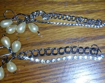 Rhinestone Chain Earrings  (E 238)