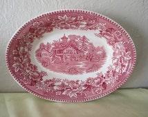 Vegetable Bowl, Serving Bowl, English Dinnerware, Thos. Hughes & Son Ltd., Red pattern Bowl, Avon Cottage,