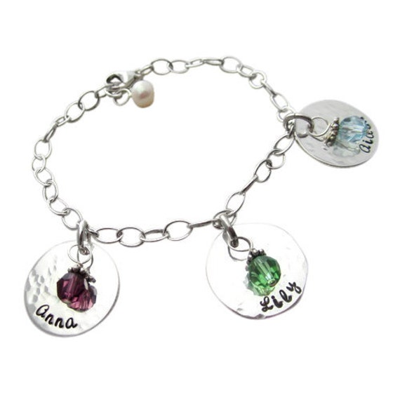 Mothers Charm Bracelet: Childs Name Birthstone Charm Bracelet Children's Names