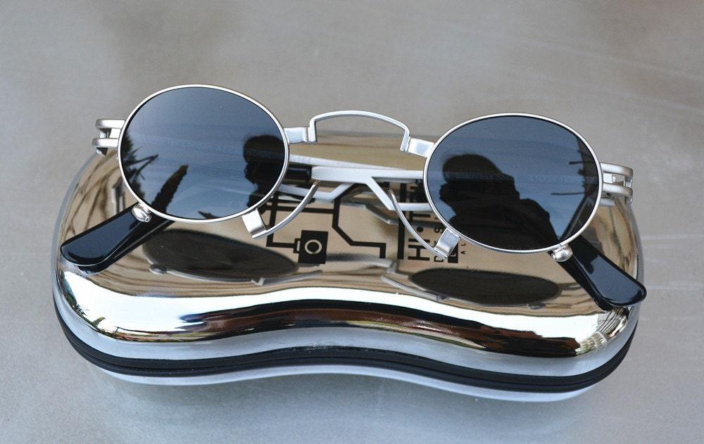 bd4a7aa32ec Hi Tek Alexander small oval stainless steel gold frame vampire Goth  Steampunk Polarized lenses sunglasses smoke