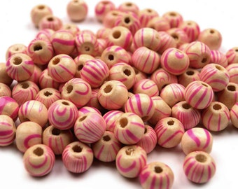 50 wooden beads, 8 mm, beige / pink  (493)