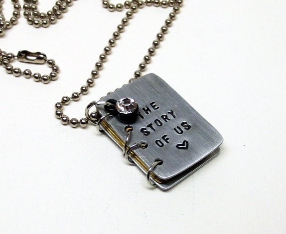 personalize it miniature book pendant couples gift