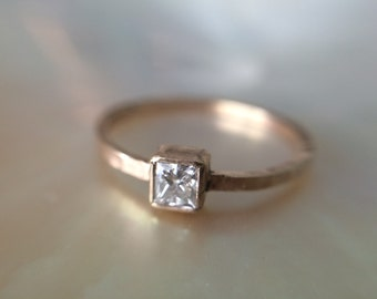 Square Diamond Conflict Free Engagement Ring- 14kt Recycled Gold Princess Cut Engagement Ring- Hammered Engagement Ring
