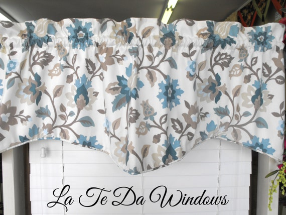 window valance light cream background teal taupe mocha spa. Black Bedroom Furniture Sets. Home Design Ideas