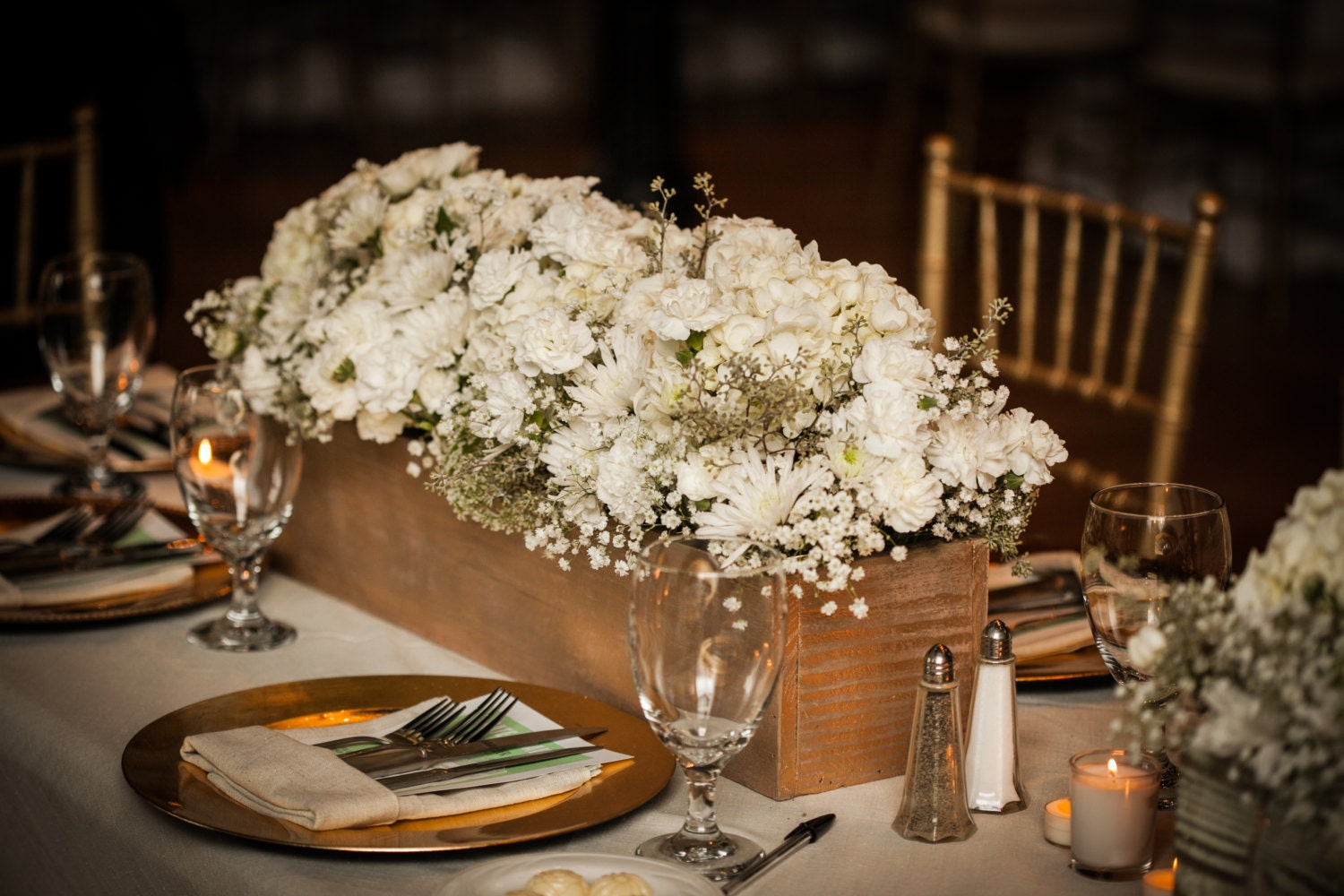 Wooden boxes wedding centerpiece flower by shopsweetlysalvaged