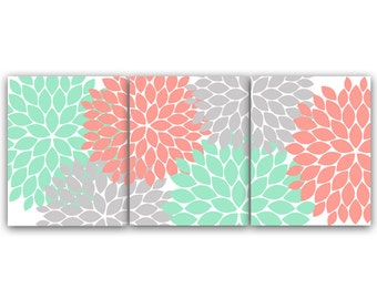 Home Decor Wall Art, INSTANT DOWNLOAD Coral and Mint Flower Burst Art, Bathroom Wall Decor, Coral Bedroom Decor, Nursery Wall Art - HOME81