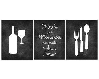 Home Decor Wall Art Chalkboard Kitchen Canvas Art Fork And Spoon Wall Decor