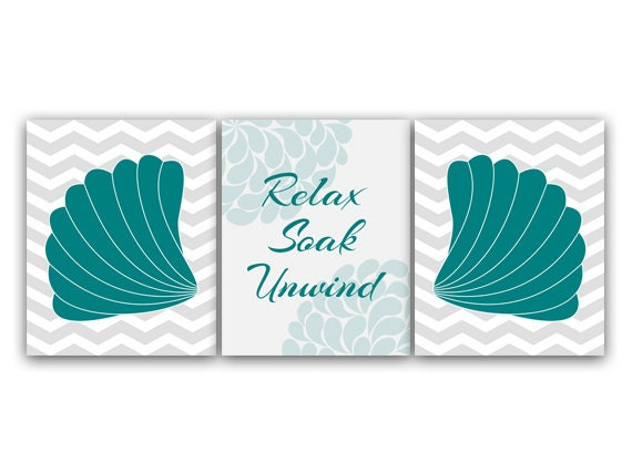 Items similar to bathroom wall art teal and gray bathroom for Teal and black bathroom accessories