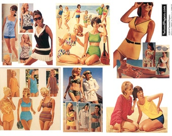 Vintage 1960s Women Swimsuits, Beachwear, Cover-Ups, Printable Digital Collage Sheet SW627