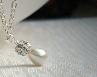 Tiny Ivory Necklace, Bridesmaid Gift, Jewelry, Pearl Rhinestone Necklace, Bridesmaid Jewelry, Ivory Drop Pearl Necklace, Bridesmaid Gift
