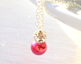 Dark pink Bridesmaids jewelry, pink necklace Bridesmaids gift Pink wedding party Dark pink Flower Girl Gift