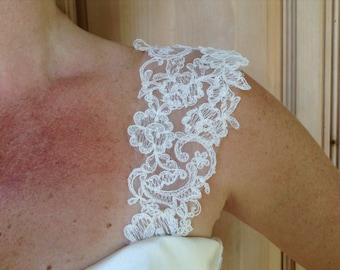Detachable strap. Alencon Lace Wedding Gown Straps #11