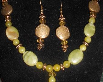 Lemon Jasper and Jade Beaded Necklace Set