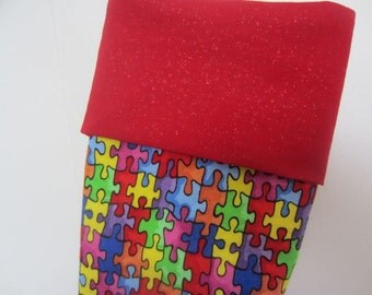 Personalized Rainbow Puzzle Stocking - Austism Awareness - Colorful, Fun, Kids Stocking