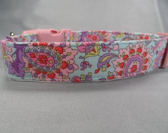 Pink and Purple Paisley on Blue Dog Collar