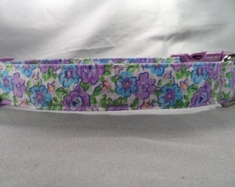 Purple and Blue Flower Dog Collar