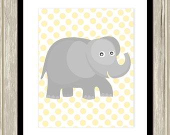 Elephant nursery art, polkadot, nursery art for baby boy, baby girl nursery, toddler wall art, grey yellow nursery