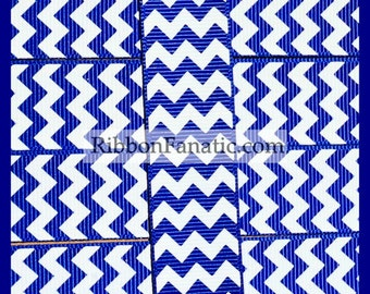 "5 yds 7/8"" Royal Blue and White Chevron Grosgrain Ribbon"