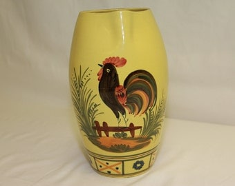 Hand Made Hand Painted Yellow Rooster Pitcher