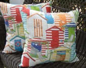 "Set of 2 Throw Pillows -  Beach Hut Red Green Orange Yellow Blue White Coastal 20""  Indoor / Outdoor Pillows"