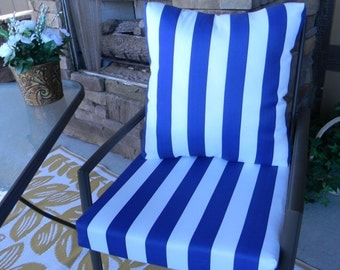Outdoor Blue and White Stripe Foam Cushion & Back Pillow Set for Patio Dining - Choose Size