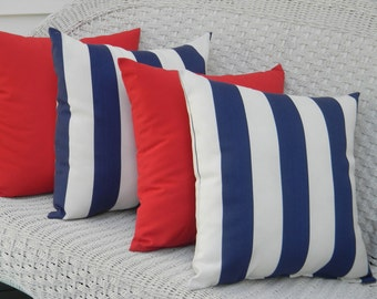 """Set of 4 - 17"""" x 17"""" Indoor / Outdoor Decorative Throw Pillows - 2 Navy Blue and White Stripe & 2 Solid Red Pillows"""