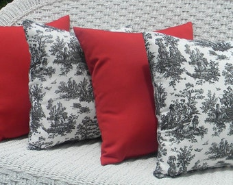 """SET OF 4 17"""" x 17""""  Indoor / Outdoor Throw Pillows - 2 Black and White Jamestown Toile & 2 Solid Red Decorative Pillows"""
