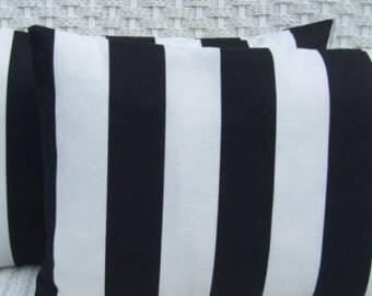 Set of 2 ~ Black and White Stripe Rectangle / Lumbar Decorative Throw Pillows ~ Indoor Outdoor Fabric