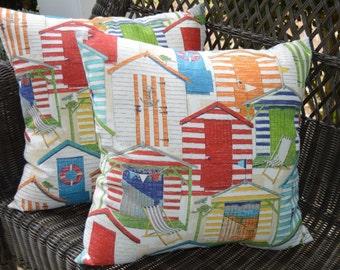 "Set of 2 Throw Pillows -  Beach Hut Red Green Orange Yellow Blue White Coastal 17""  Indoor / Outdoor Pillows"