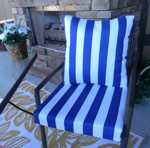 Outdoor Blue And White Stripe Foam Cushion Back Pillow Set