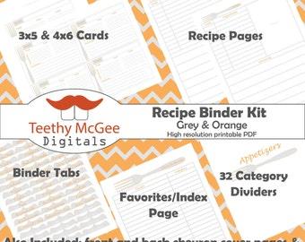 Recipe Binder Kit - Instant Download to Organize Your Kitchen in Grey & Orange Fork