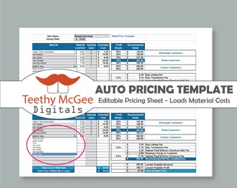 Automatic Price Template - Instant Download Editable - Materials List Automatically Fills in Costs & Calculates Price with Etsy/PayPal Fees