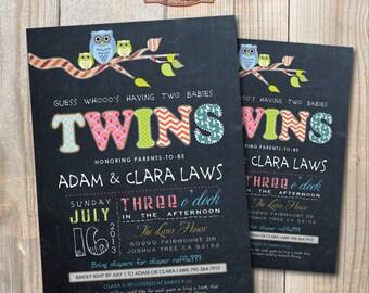 Chalkboard Twins Baby Shower Invitation. OWLS. DIY card. Digital Printable card