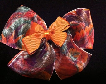 Large hair bow, orange, pumpkins, fall colors
