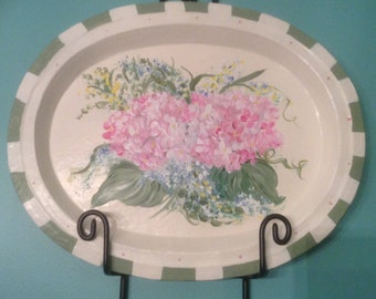 Paper  Mâché Tray with Pink Hydrangea
