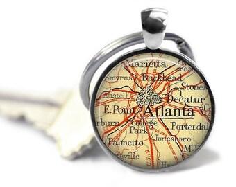 Atlanta map key ring vintage Atlanta keychain Buckhead key chain groomsman gift for Atlanta wedding.