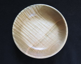 Curly maple wooden bowl, Hand turned wood, fiddle back maple