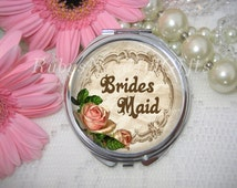 Bridesmaid Compact Mirror, Bridal Shower Gift, Wedding Party Gift,  cosmetic, handbag or purse mirror, Bridesmaid Gift, silver tone.