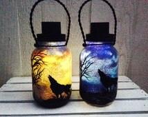 Day OR Night Wolf in the Desert, Mason Jar Light, Outdoor Solar Light, Hand Painted Mason Jar, Hanging Lantern, Quart Size, Outdoor Lighting