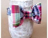 Red Madras Plaid Bow Tie