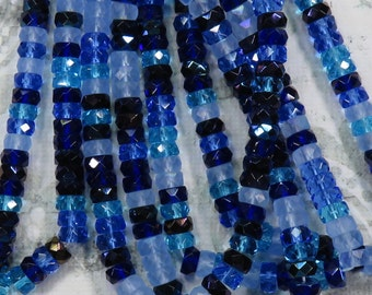 Cool Rain Blue Mix Faceted Flat Rondelle Czech Beads - Item 1493