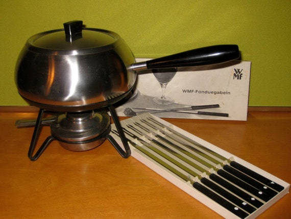 mid century modern wmf fraser cromargan fondue pot with set of. Black Bedroom Furniture Sets. Home Design Ideas