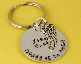 Daddy of an Angel Keychain - Personalized Keychain - Miscarriage Keyring - Remembrance Gift - Pregnancy Loss Gift - Memorial Gift