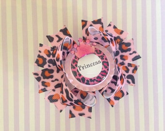 Princess, Pink Leopard Hair Bow